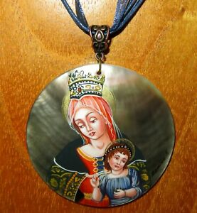 Vittore Crivelli Pendant Madonna and Child Genuine Hand painted SHELL signed ART