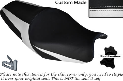 DESIGN 2 WHITE CUSTOM FITS KAWASAKI ZZR 1400 ZX14R 12-14 LEATHER SEAT COVER