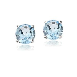 christmas gift dark box stud light free blue jewelry topaz silver stones for women cz round sapphire item color earring