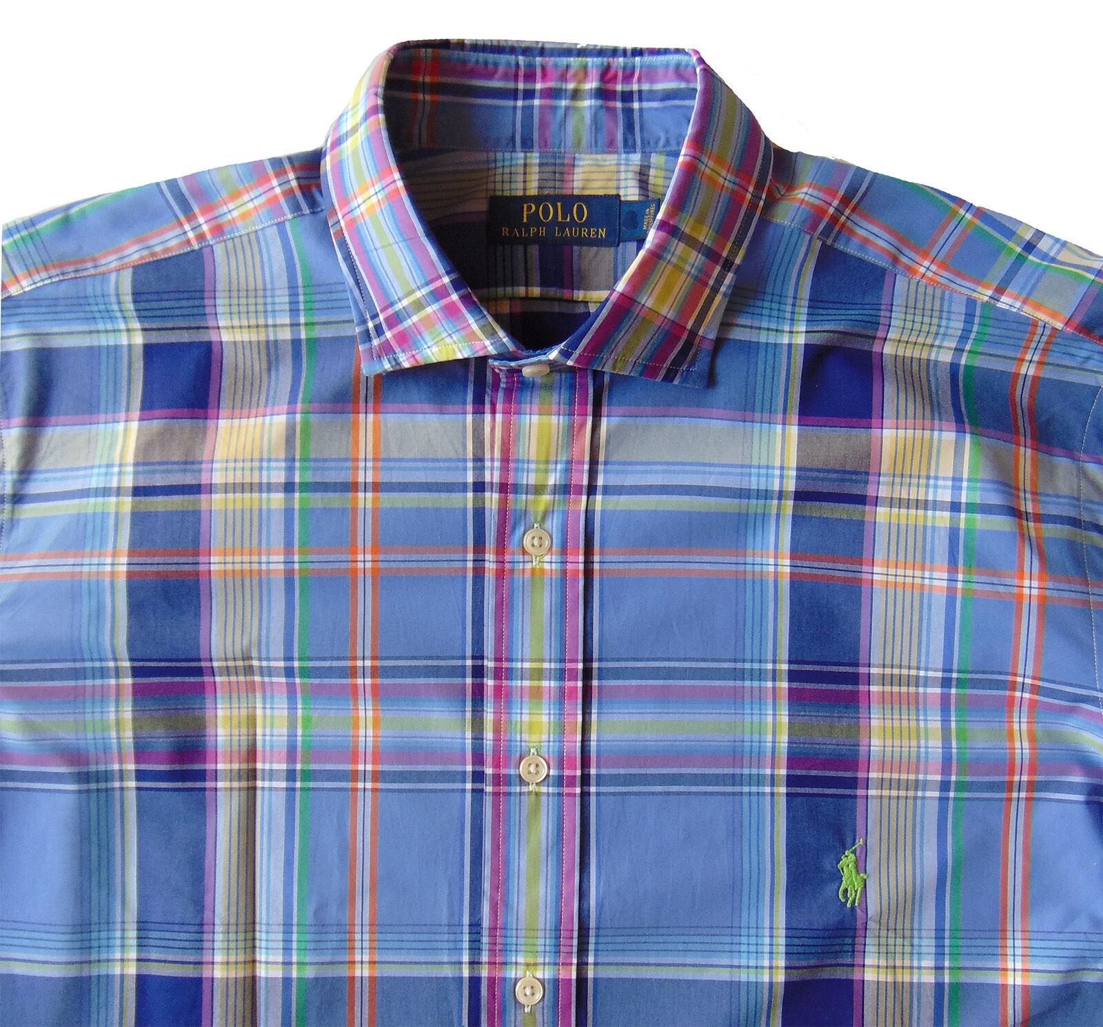 Men's POLO RALPH LAUREN bluee colors Plaid Shirt 2XB 2X 2XL BIG NWT NEW