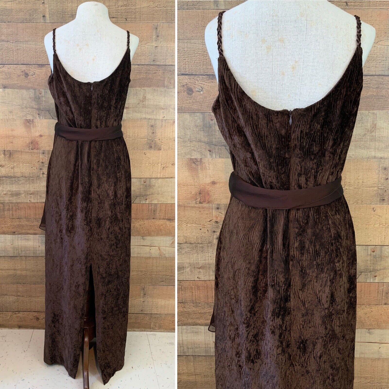 Vintage 1990's Gunne Sax Brown Textured Velvet Ma… - image 5