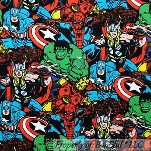 Boneful fabric fq cotton jersey knit super hero marvel for Children s character fabric