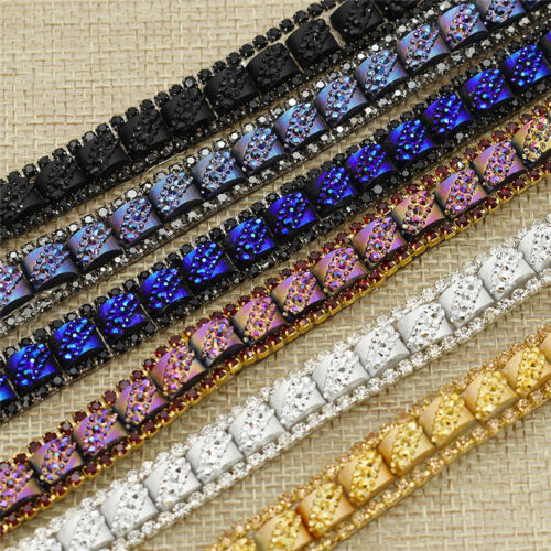 1 Yard Rhinestone Embroidered Lace Trims Ribbon Fabric for Sewing Supplies DIY