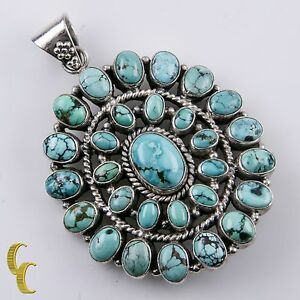 Sterling Silver 925 Native American Cabachon Turquoise Pendant