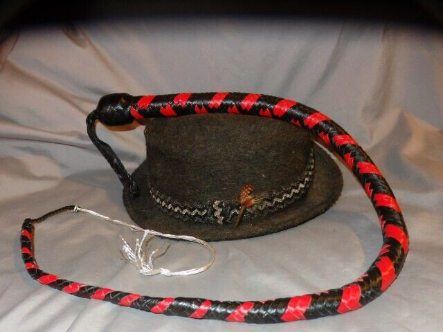 Kangaroo RED Leather Signal Whip Singletail 3 ft 12 Plait Lead Shot Loaded