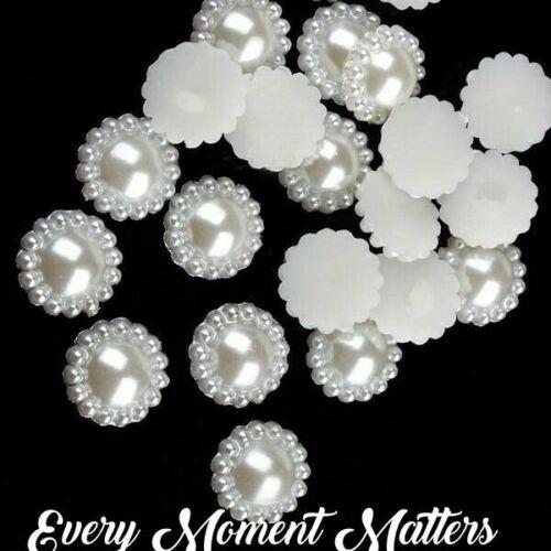 100 x WHITE ACRYLIC PEARL SUNFLOWER Flat Back Wedding Embellishments 11mm