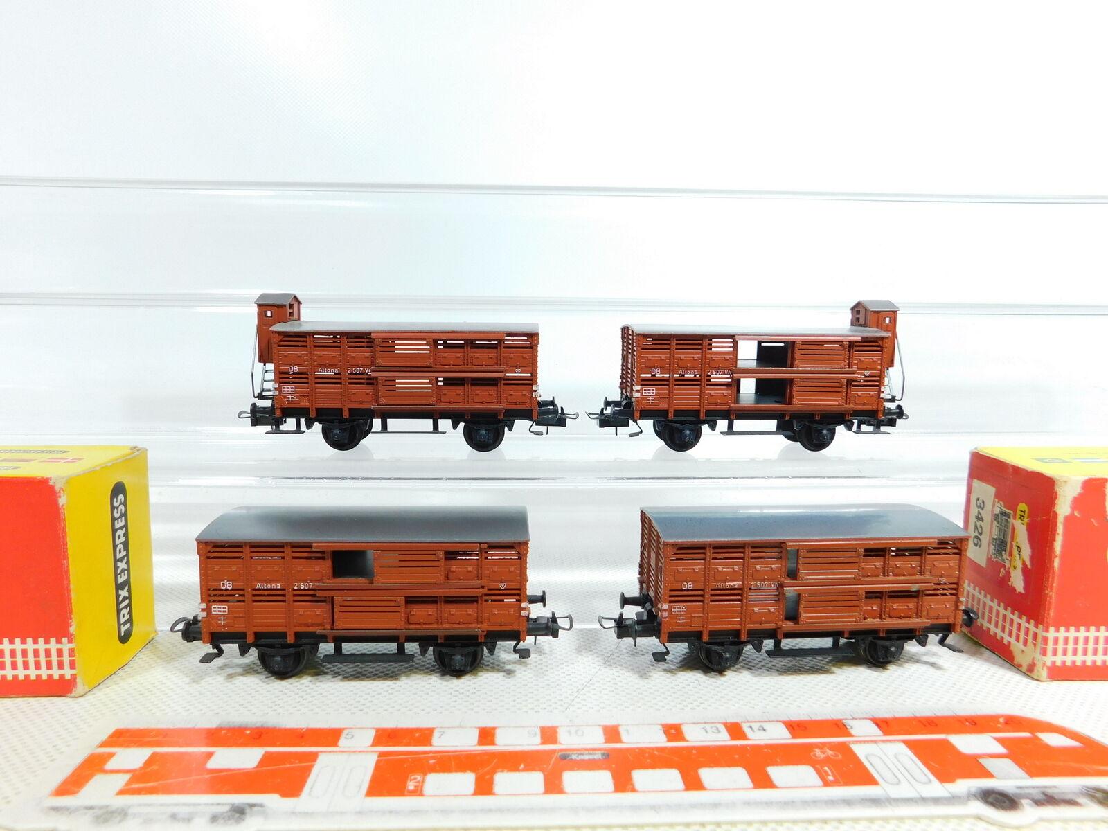 BX84-1  4x Trix Int H0 DC Verschlagwagen (Achsen tauschen) DB  3425+3426 2x OVP