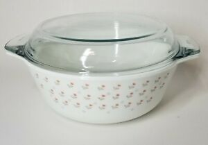PYREX-Round-Casserole-With-Lid-Laura-Ashley-Pink-Tulip-Pattern-Made-in-England