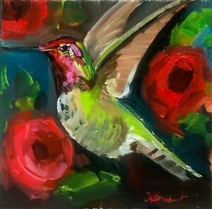 ORIGINAL oil painting on canvas contemporary Hummingbird. white deep Framed
