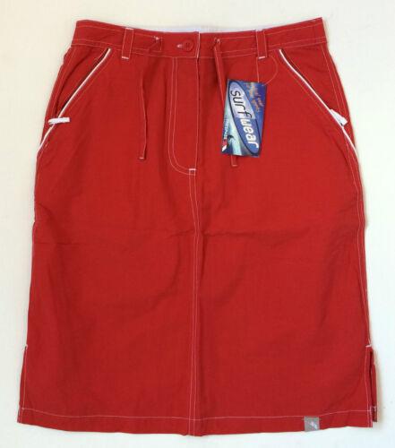 Skirt Red White Trim Cotton Mix Knee Length Fly Zip UK 8 /& UK 10 Trespass Beans