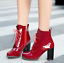 Details about  /Womens Patent Leather Winter Ankle Boots Lace Up Chunky High Heel Shoes Casual M