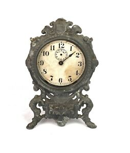 Antique Waterbury Clock Co Art Nouveau Cast Iron Case Mantle Clock Parts Repair