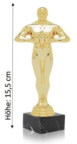 SIEGERFIGUR in 3 Größen inkl Filmstatue Award ähnlich Oskar passendem Schild