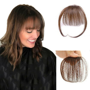Details About Thin Neat Air Bangs 100 Human Hair Clip In Front Fringe Hair Pieces Wispy Bangs
