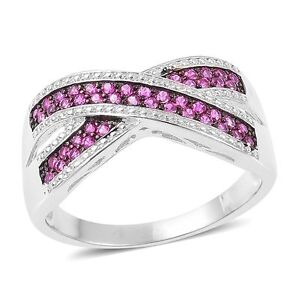 RUBY-RED-SIMULATED-DIAMOND-CRISS-CROSS-BAND-RING-SIZE-8-STACKABLE-OR-BAND-RING