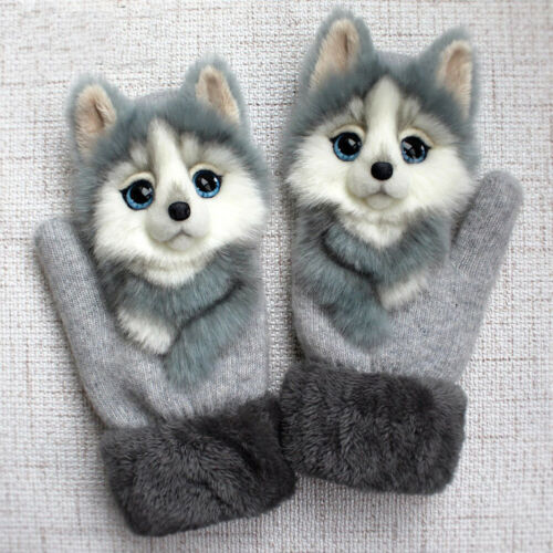 2020 Animal Pattern Soft Gloves Winter Warmth Plush Knitted Gloves For Women