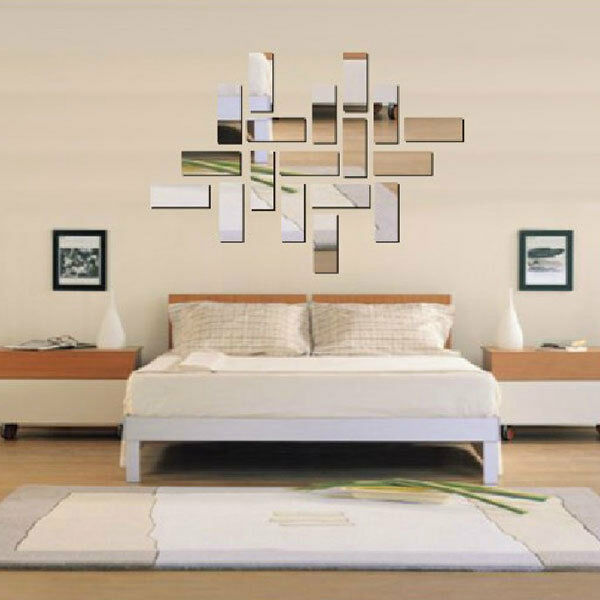 Silver Acrylic 3D Rectangle Mirror Effect Mural Wall Sticker Decal Home Decor