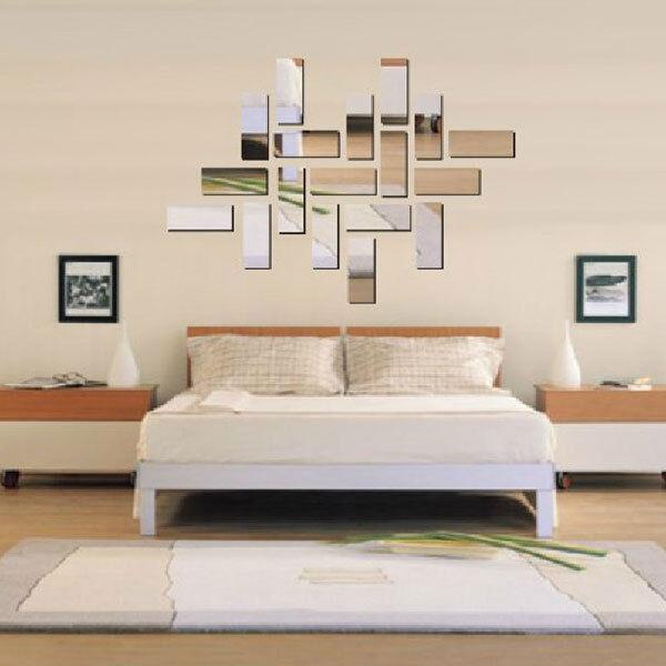 Silver Acrylic 3D Rectangle Mirror Effect Mural Wall Sticker Decal Home Decor