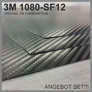 ANGEBOT-SET-3M-Carbon-Folie-2x-50x50cm-Original-1080-SF12-Schwarz
