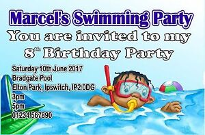 Personalised Boys Swimming Birthday Party Invite Invites