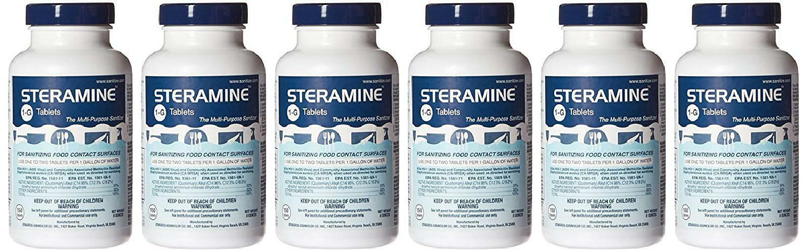 Steramine Quaternary Sanitizing Tablets, Case Of 6 3130
