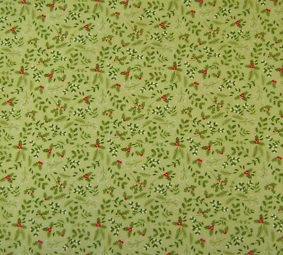 Mint Holly Print Christmas Polycotton Craft Fabric 112cm Wide @ £2.64 per mtr.