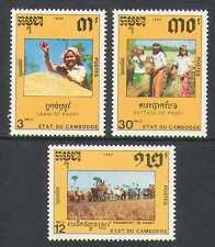 Cambodia 1990 Farming/Ox Cart/Cattle/Rice 3v set n21013