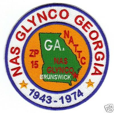 US NAVY BASE PATCH, NAS GLYNCO GEORGIA, NATTC, ZP-15, 1943-1974                Y