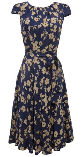 New Blue Beige Floral Wartime WW2 1930/'s 1940/'s Vintage style Swing Tea Dress