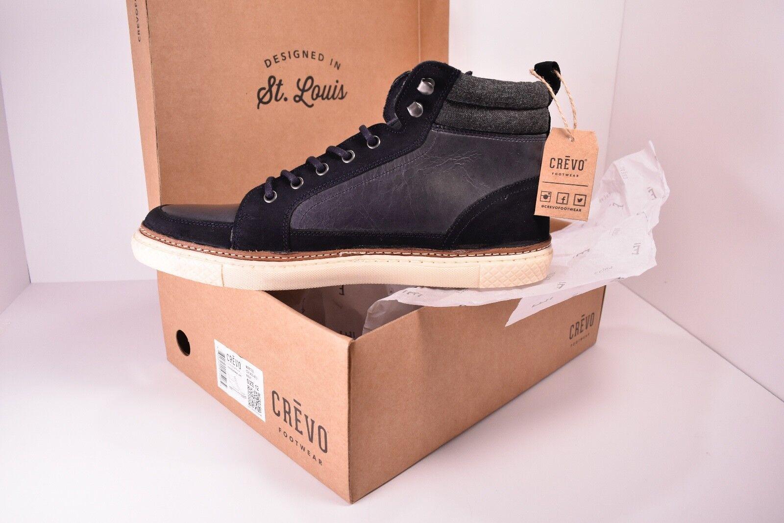 Crevo Footwear Martel Zapatillas-Azul Marino-Para Hombre Talla 12-Cuero Y Gamuza
