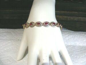 Ross-Simons-Sterling-Silver-Ruby-amp-Rhinestone-Bracelet