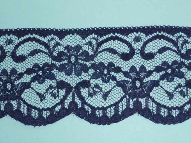 "*25 METRES Navy Blue Delicate Lace Trim 2.25""/6cm Bridesmaid Sewing Costume"