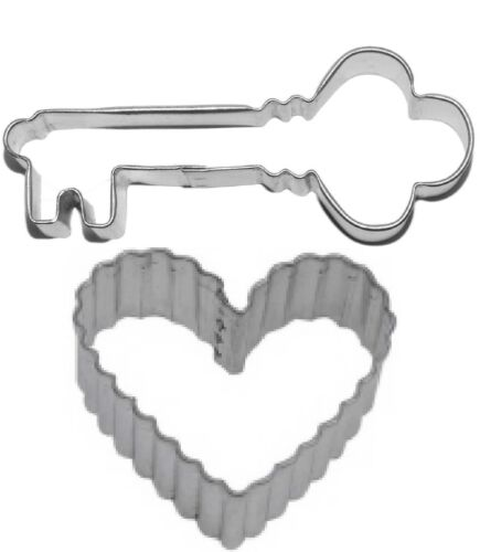2 Piece Antique Key to My Heart  Cookie Cutter Set NEW!
