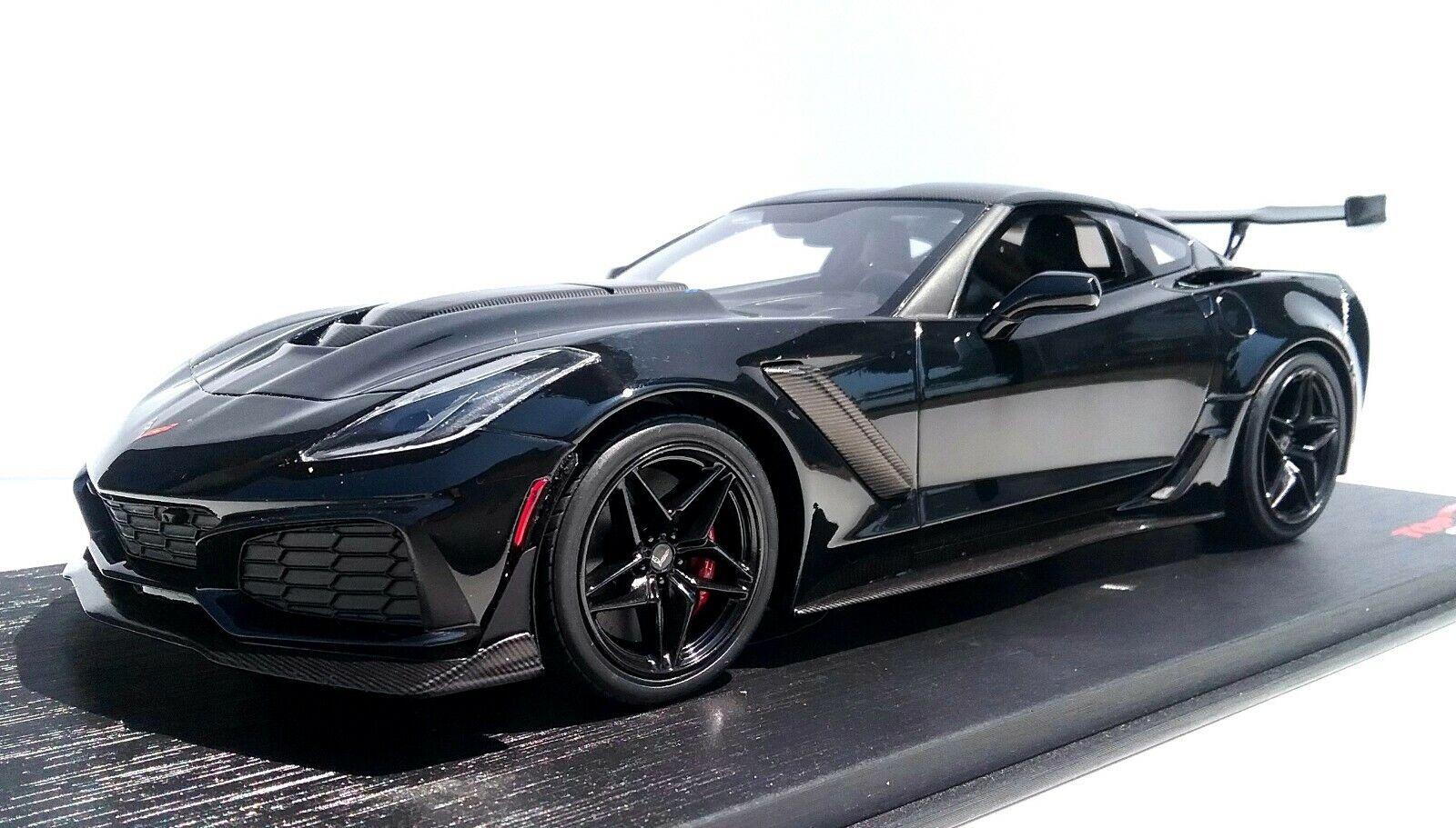 2019 Corvette ZR1 Sottile Alto Terminale Resina Modello in 1 18 Scala Nero Ltd