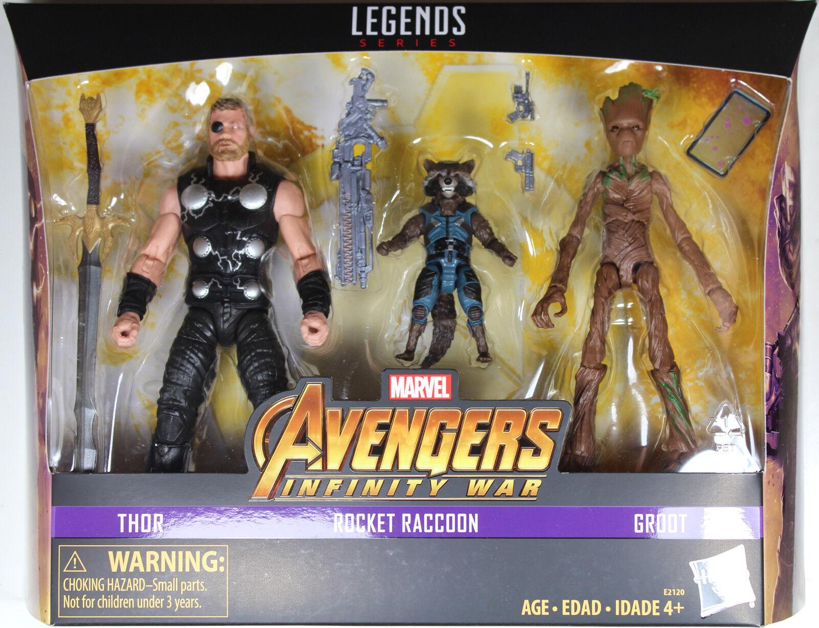 Marvel Legends Thor, Rocket Raccoon & Groot exclusivo  los Vengadores  Infinito De Guerra