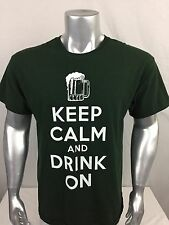 Mens Large Black Tshirt Keep Calm And Drink On By Gildan