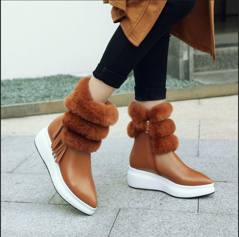 Fur Furry Kitten Heel Warm Size Zip shoes Rex Fur Womens Mid Calf Boots S360