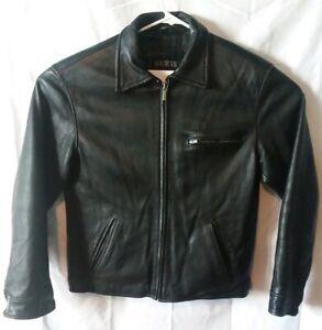 Vintage-Men-s-GUESS-Black-Genuine-Leather-Jacket-Size-S
