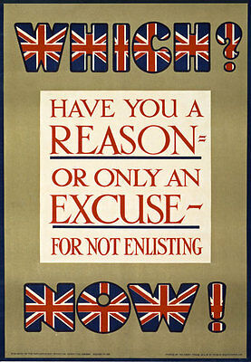 WA13 Vintage WWI Theres No Excuses British Recruitment War Poster WW1 A1 A2 A3