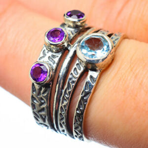 Blue-Topaz-Amethyst-925-Sterling-Silver-Ring-Size-7-75-Ana-Co-Jewelry-R28617F