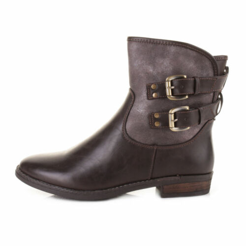 Ella Tania Brown Boots Faux Leather Ladies Vegan 2 Buckle Boot