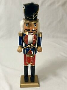 """Nutcracker Drummer 15"""" Wooden Christmas Tall Red Blue Black Gold Marching Band"""