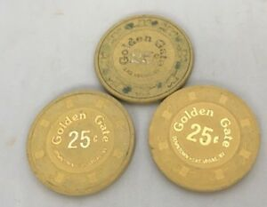 Lot-of-3-25-Cent-Las-Vegas-Golden-Gate-Downtown-Las-Vegas-Casino-Chips-Yellow