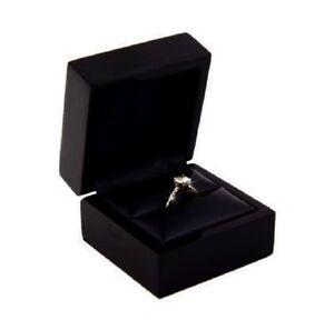 5 Premium Glossy Ebony Black Diamond Wood Engagement Wedding Ring