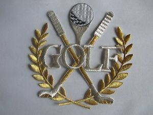 3217L-5-3-4-034-x6-034-Gold-Silver-Golf-Club-Ball-Embroidery-Iron-On-Applique-Patch