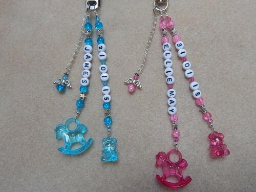 Pram Changing Bag Charm Baby Personalised Name /& DOB