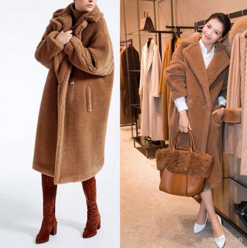 Womens Alpaca blend wool Long Coat Oversized Slim Fit Trench Coat Parkas Outwear