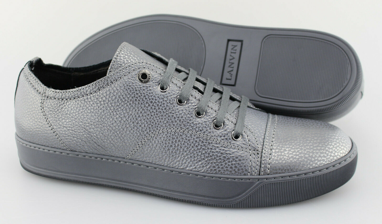 Men's LANVIN 'Cap Toe' Metallic grigio Leather scarpe da ginnastica Dimensione US 11