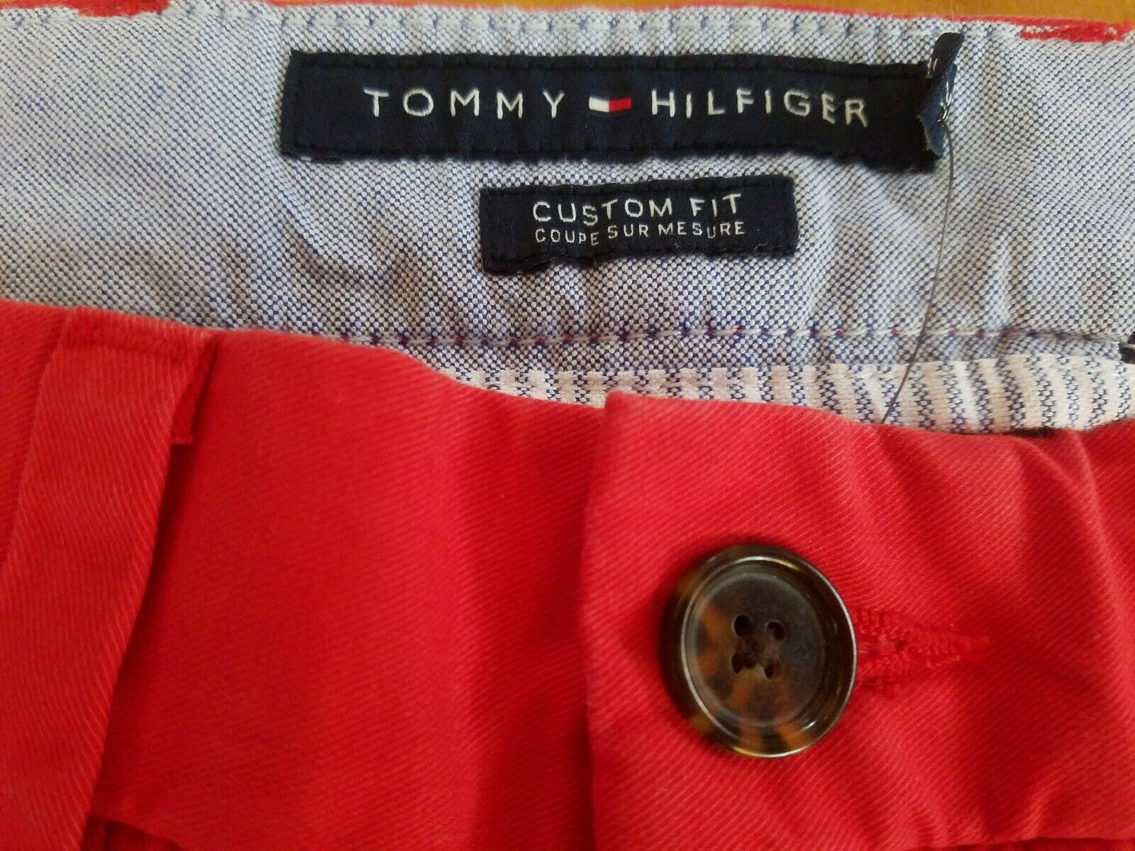 Tommy Hilfiger Men/'s Pants Custom Fit Coupe Sur Mesur Red  $59