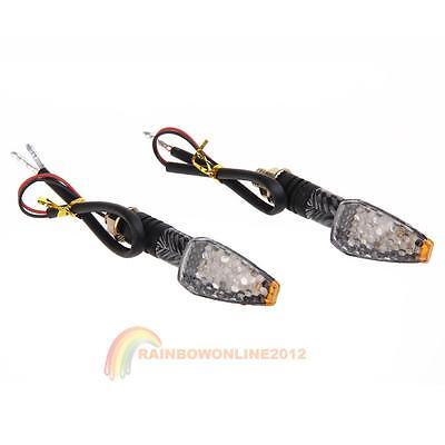2Pcs Motorcycle Motorbike Carbon LED Turn Signal Indicators Amber Light New